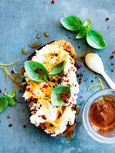 bruschetta with cheese and honey